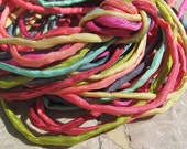 TROPICAL ISLAND Silk Cords Hand Dyed and Sewn Assortment Quantity 10 to 100 Strings, Great for Bracelet Wraps, Kumihimo Braids, Necklaces