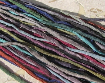 DARK NIGHT Hand Dyed Hand Sewn Silk Cord Assortment 25 Strings Strands Craft Cords Great for Kumihimo Braiding or Jewelry
