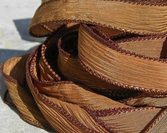SADDLE BROWN Silk Ribbons 5 Hand Dyed Strings Cords Jamn, Great for Silk Wraps or Necklace Ties