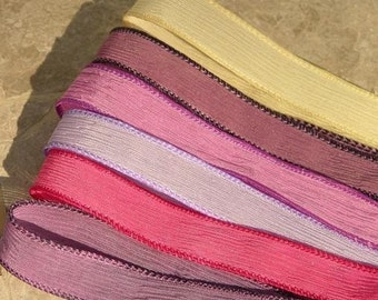 BERRY DELICIOUS Assortment Silk Ribbons Hand Dyed Sewn 6 Strings for Jewelry, Great Valentines Day or Spring Colors