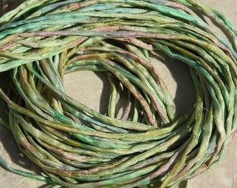 GREEN JELLY BEANS, Silk Cords Hand Dyed Hand Sewn 6 Strings, Green Pink Blue, Great for Kumihimo Braiding, Bracelet Wraps Crafts or Jewelry