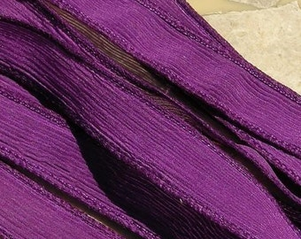 MAGENTA Hand Dyed Silk Ribbons, Qty 5 Strings Dark PURPLE RED, Jamnglass Handmade Ribbon, Great Bracelet Wraps or Necklaces