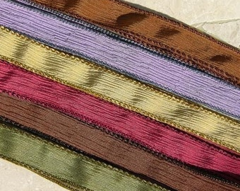 Vintage Fall Asortment Silk Ribbons, Qty 6, Crinkle Silk Craft Ribbon, Hand Dyed Handmade Ribbons, Jewelry Making Stringing Supplies