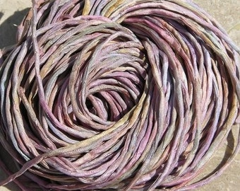 Sea Shells Silk Cords, Qty 6, Hand Dyed Silk Cording, Sea Glass Colors, Silk String, Pinks, Hand Sewn Cord