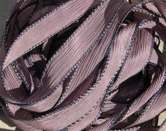 Blackberry Hand Dyed Silk Ribbon 5 Hand-Dyed Sewn Strings Misty Violet Plum