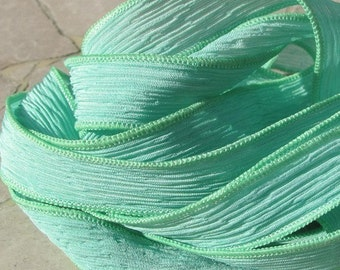 MINT JULEP Silk Ribbons, Light Green Silk Strings 5 Pastel Hand Dyed Sewn Ribbons, Crinkle Silk Ribbons, Jewelry Ribbons