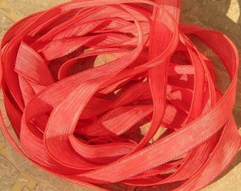 CORAL ORANGE Silk Ribbons, Crinkle Silk Ribbon, Hand Dyed Handmade Qty 5, Jewelry Making Stringing Supplies, Craft Ribbon