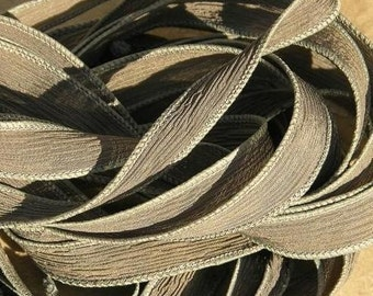 WARM GRAY Silk Ribbons Hand Dyed Sewn 5 Ribbons Elephant Grey String, Great Bracelet or Necklace Ribbon
