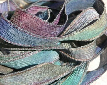 WILDWOODS Silk Ribbons, Watercolor Ribbon, Wild Woods Hand Dyed Ribbon, Tie Dyed Silk Strings, Great for Necklaces or Bracelet Wraps
