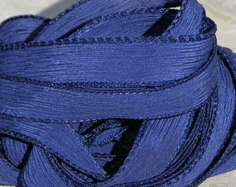 NAVY BLUE Silk Ribbons Hand Dyed Sewn Qty 5 Indigo Dark Silk Strings Strands Ties, Ribbons for Necklaces or Bracelet Wraps