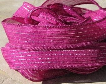 Hot Pink Fizz Silk Ribbon Hand Dyed Sewn Strings Silver Metallic Pinstripes Fuchsia