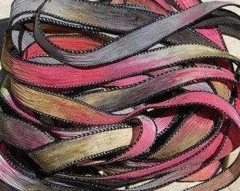 NAVAJO TRAIL Hand Dyed Silk Ribbon Sewn Southwestern Blanket, Great Bracelet Wraps, Jewelry or Crafts