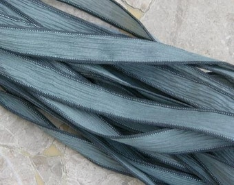 GRAY GREEN Silk Ribbons Hand Dyed and Sewn Strings For Necklaces, Bracelet Wraps or other Crafts