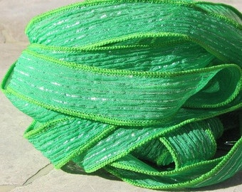 Green Fizz Silk Ribbons Strings Qty 5 Hand Dyed Sewn Silk With Metallic Silver, St Patricks Day Green, Stringing Supplies, Craft Ribbon