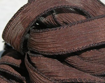 DARK CHOCOLATE BROWN Silk Ribbons Strings Hand Dyed Sewn Necklace 5, Great Necklace Ties, Bracelet Wraps or for Crafts