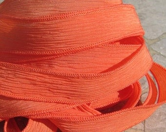 CORAL Silk Ribbons Hand-Dyed Sewn 5 Ribbons Jamn Strings, Great Silk Bracelet Wraps or Necklace Ties