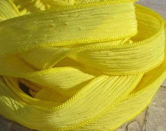 SUNSHINE YELLOW Silk Ribbons, Qty 5 Silk Strings Hand Dyed Handmade Crinkle Silk Ribbon Bright Sunny Lemon Yellow, Jewelry or Craft Ribbon