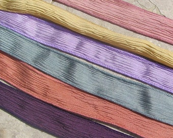 VINTAGE PEARLS Hand Dyed Painted Silk Ribbons Assortment  Silk Strings Jamn Handmade Ribbons for Jewelry or Crafts