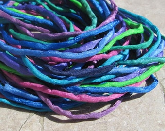 ISLAND RETREAT Brights Silk Cord Assortment 2-3mm Hand Dyed Hand Sewn Cording, Bulk 10 to 50 Strings for Kumihimo Braids, Jewelry and Crafts