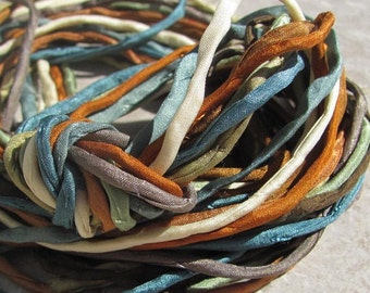 CANYON ECHOES Collection Silk Cords Strings Hand Dyed Hand Sewn Quantity 10 to 100 Strings, Great for Silk Wrap Cords and Kumihimo Braids