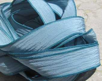 BLUE GRAY GREEN Silk Ribbons,  Hand Dyed Silk Ribbons Handpainted Silk Strings 5 Strands, Great for Bracelet Wraps, Necklace Ties or Crafts