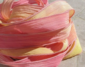SUNRISE Hand Dyed Silk Ribbons 5 Strings Ties Pink Peach Yellow, Silk Ribbons for Jewelry Wraps
