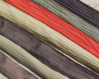 CLASSIC CHINOS Hand Dyed Silk Ribbon Assortment  7 Silk Ribbons Strings Great Silk Wrap Ribbons