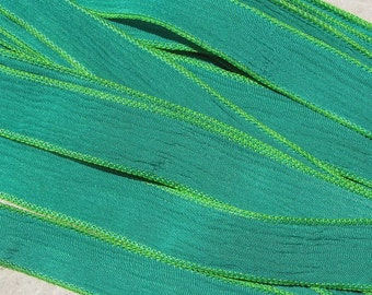 EMERALD GREEN Silk Ribbons, Qty 5 Crinkle Silk Ribbons Hand Dyed Sewn Strings, Craft Ribbon, Jewelry Making Stringing Supplies