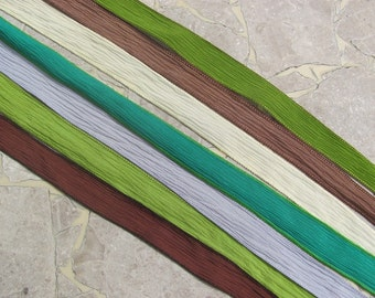 Crinkle Silk Ribbon, GREENER GRASS Silk Ribbons Qty 7, Ribbon Assortment, Hand Dyed Silk Strings, Wrist Wrap Ribbons, Silk Wraps