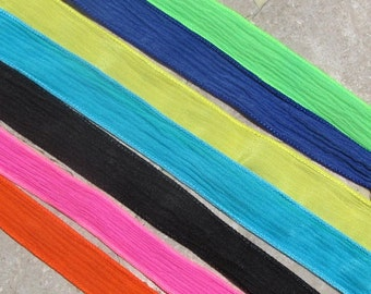 NEON Silk Ribbon Assortment, Hand Dyed Silk Ribbons, Assorted Turquoise Blue, Lime Green, Hot Pink, Bright Yellow, Periwinkle, Orange, Black