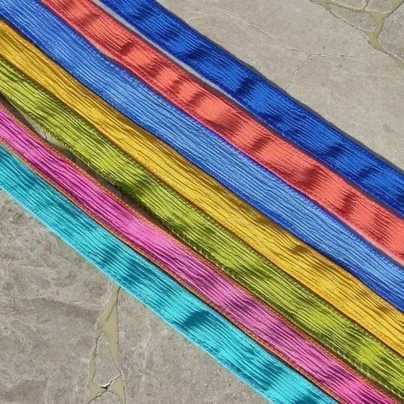SUMMERS HERE ASSORTMENT Silk Ribbons, 7 Turquoise Gold Fuchsia Pink Coral Sky Sapphire Blue, Stringing Supplies, Jewelry or Craft Ribbon