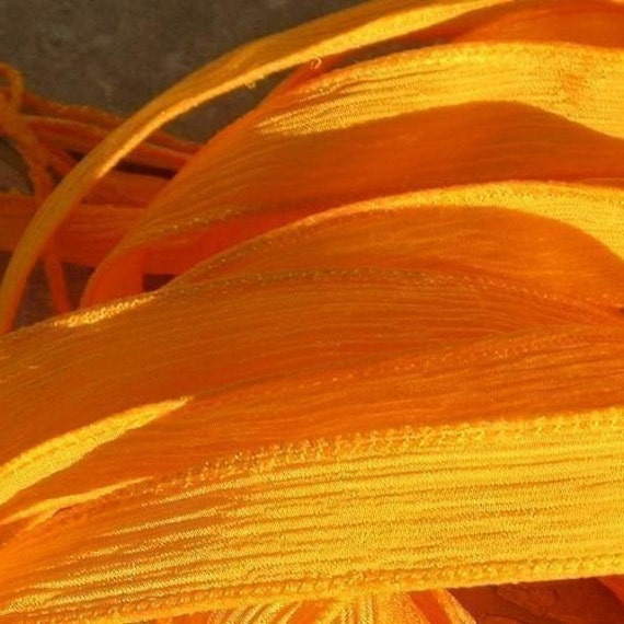 GOLD 5 Silk Ribbons Hand Dyed Silk Ribbon Sewn GOLDEN YELLOW Silk Strings, Great for Silk Wraps, Jewelry and other Crafts
