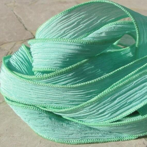 Mint Julep Silk Strings Ribbons 5 to 25 Pastel Light Green Strands Ties Hand Dyed, Bulk Ribbon