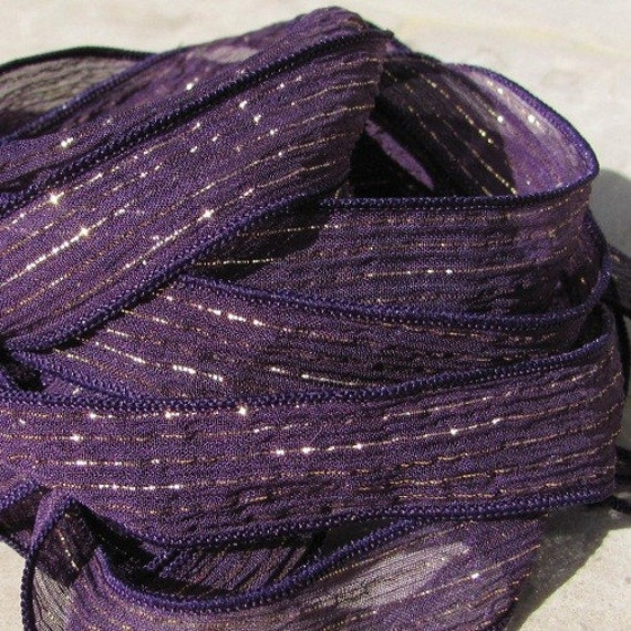 Purple Fizz Silk Ribbons, Qty 5 Silk Strings, Hand Dyed and Sewn Silk Ribbons Purple with Gold Metallic Stripe, Striped Ribbon