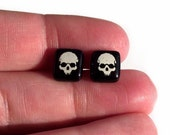 Glass Skull Earrings Studs Sterling Silver 925