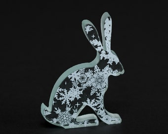 Snowflake Glass Hare Ornament Sculpture Screen Printed White Enamel