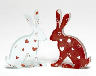 Love Bunny Heart Glass Hare Pair Sculpture Red Enamel