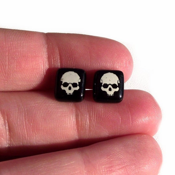 Glass Skull Earrings Studs Sterling Silver 925