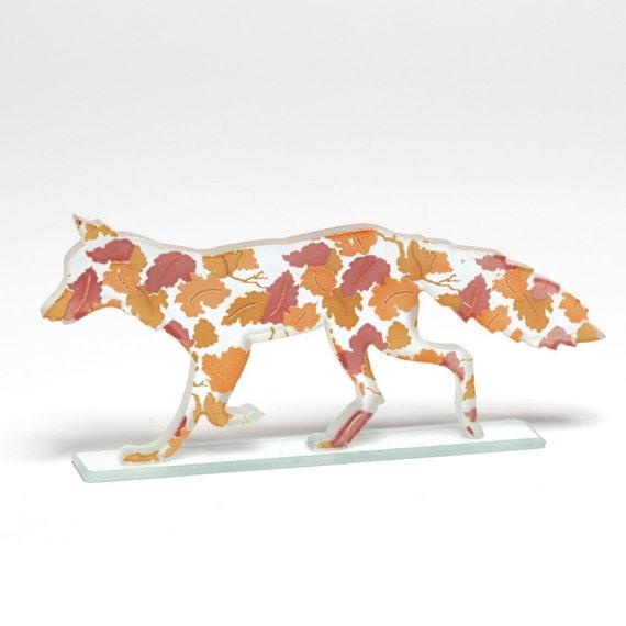 Autumn Leaves Fox Glass Sculpture