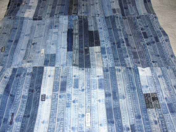 Recycled blue jean quilt by jeanoligy on etsy