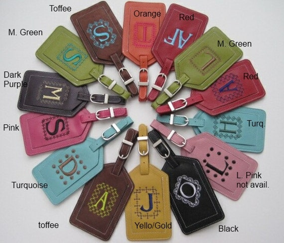 Set of Two Leather Luggage Tags Custom by DreamBoatPlus on Etsy