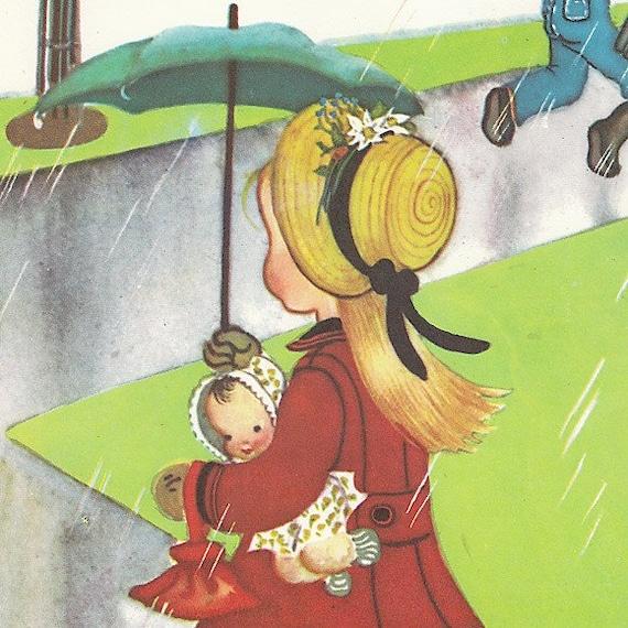 Vintage Eloise Wilkin Illustration Girl In The Rain 1948