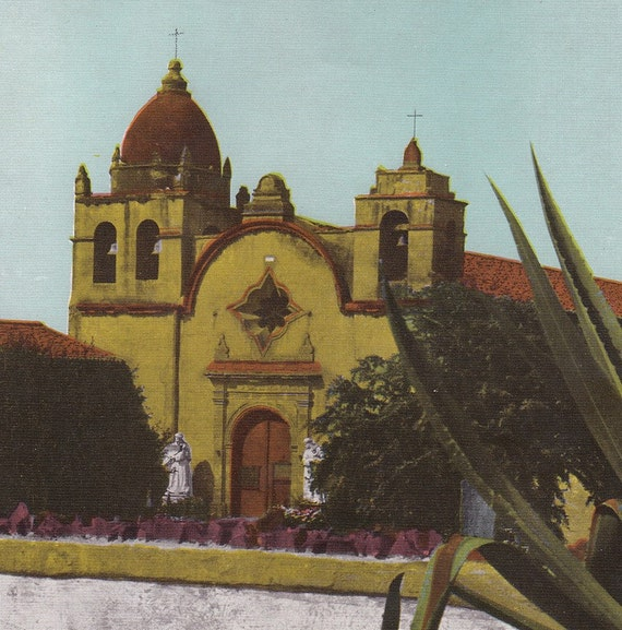 Vintage Mission San Carlos Borromeo - 1943 Southern Pacific Lines Colored Print