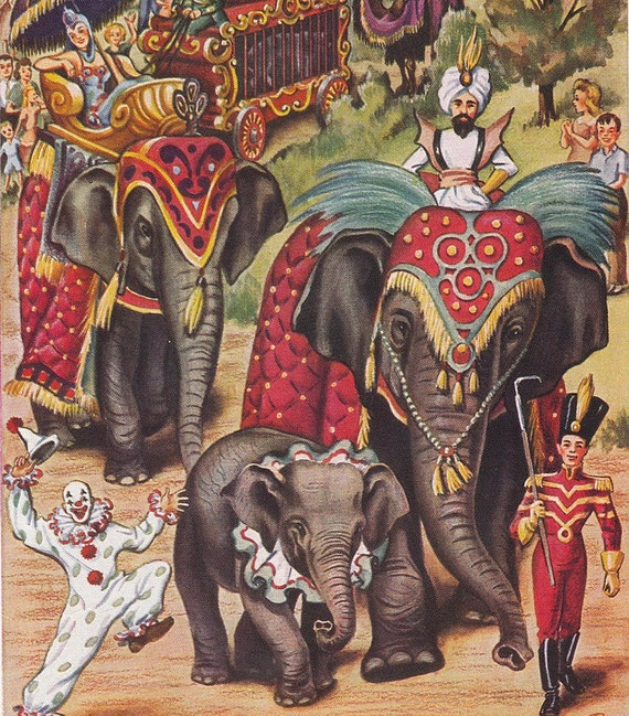 Vintage Circus Elephants Parade Book Page Print Illustration