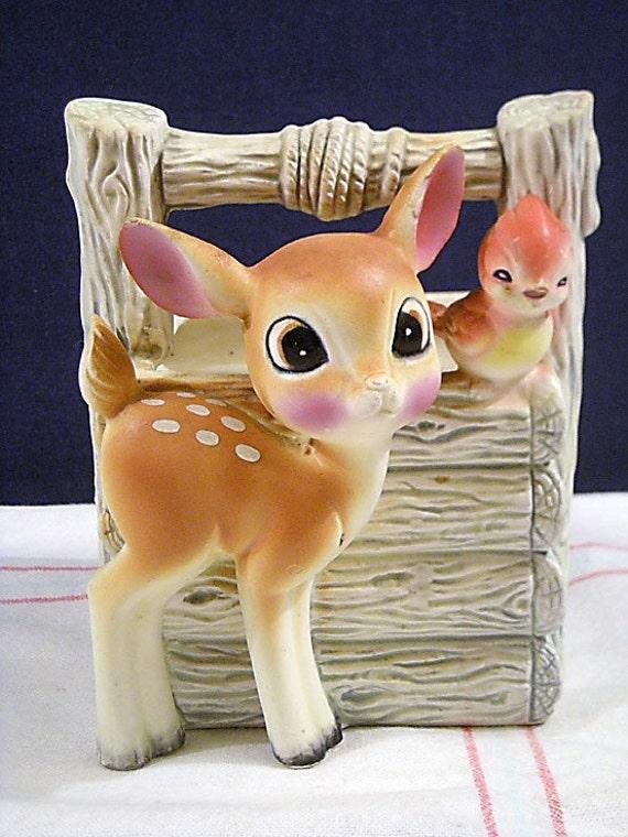 Vintage Ceramic Deer Fawn Bird Planter Made In Japan