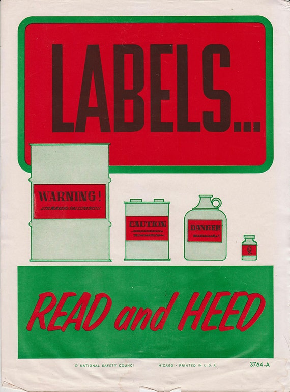 Vintage Workplace Safety Poster 1960s National Safety Council - Read And Heed Warning Labels