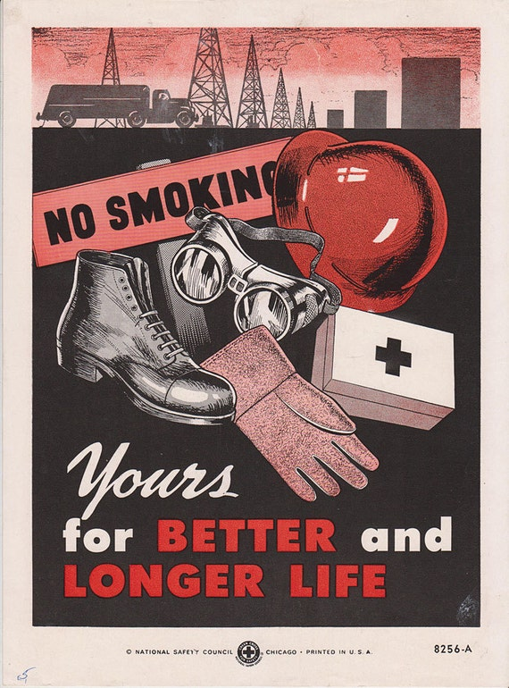Vintage Workplace Safety Poster 1960s National Safety Council - Better And Longer Life