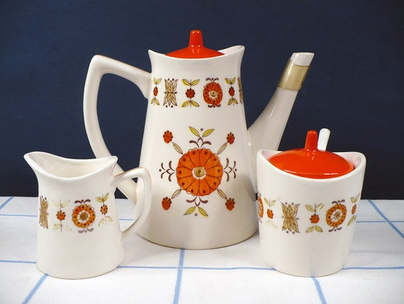 Vintage Ceramic Tea Coffee Serving Set Orange Retro Floral Flowers Brinn's Japan