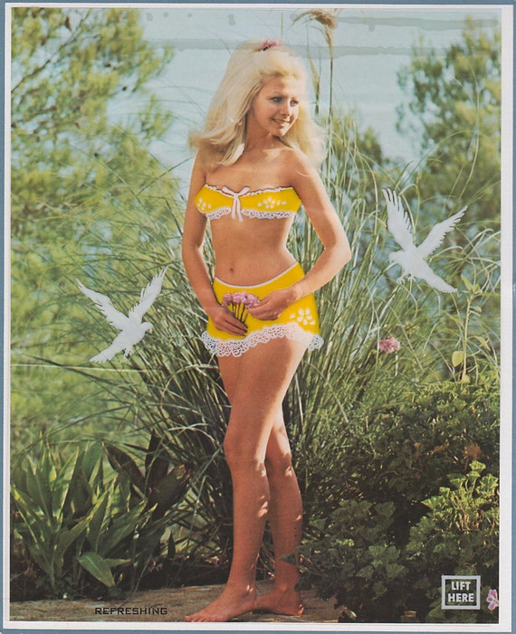 Vintage Pin-Up Girl - 1960s Calendar Photo - Refreshing - Mature Nude Print