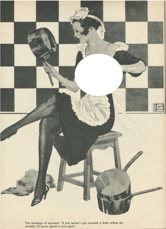 Vintage La Vie Parisienne Pin-Up Girl - French Maid - Nude Woman Print Illustration